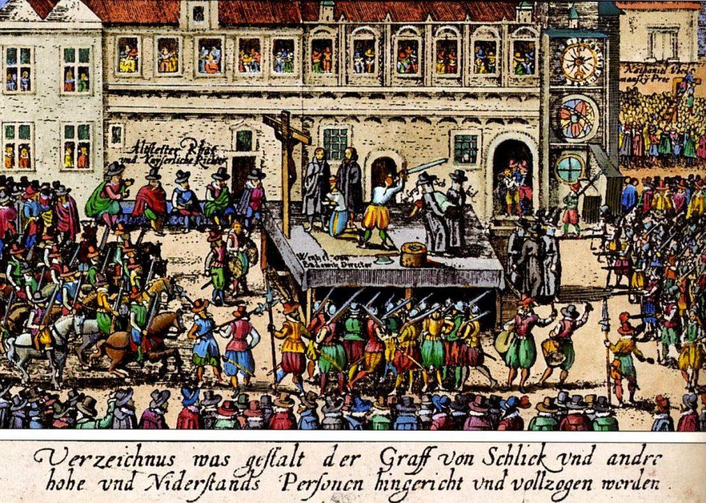 Kolorovaný dobový drevoryt. Zdroj: Wikimedia.org