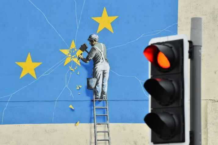 Banksy's Dover mural. Photo by Glyn Kirk/AFP/Getty Images